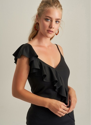 NGSTYLE Volanlı Askılı Elbise Siyah